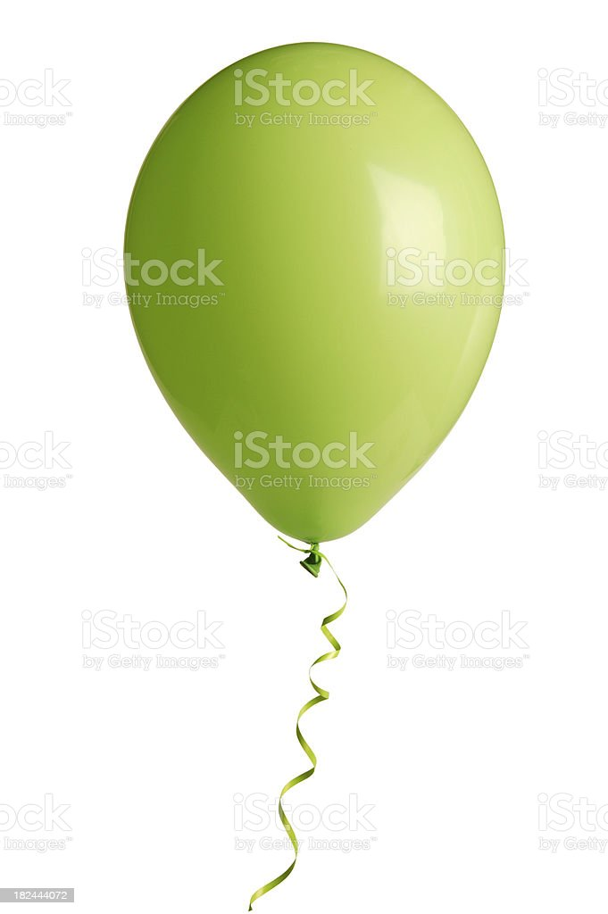green party balloon on white(w/clipping path) stock photo