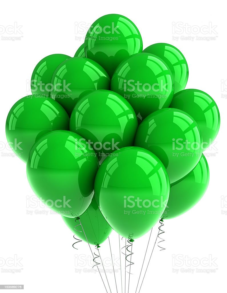 Green party balloons stock photo
