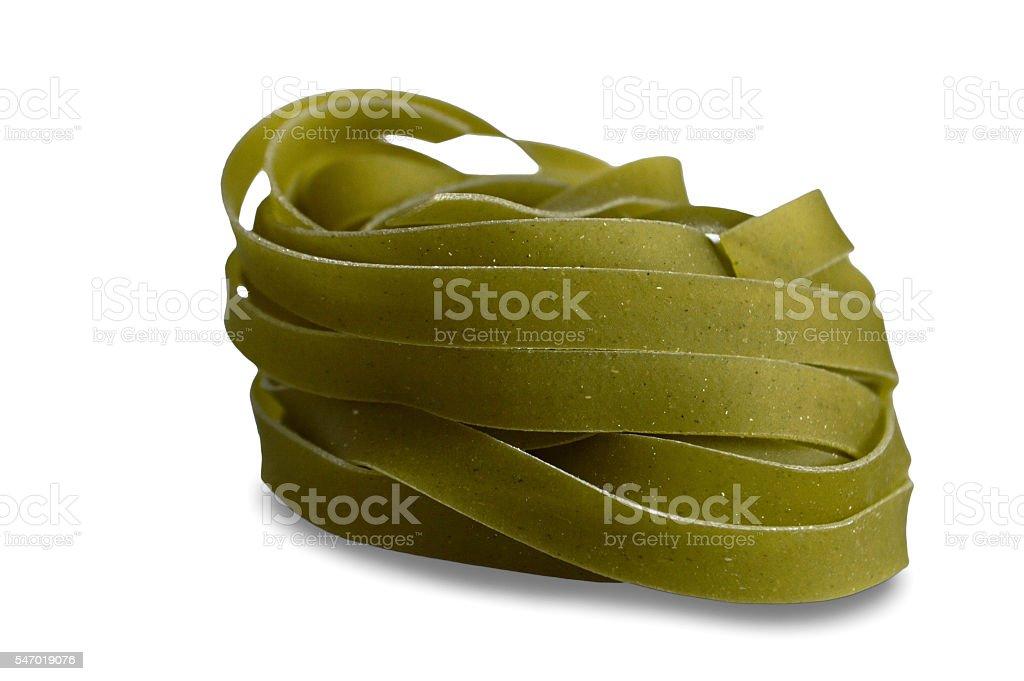 Green pasta isolated on white background stock photo