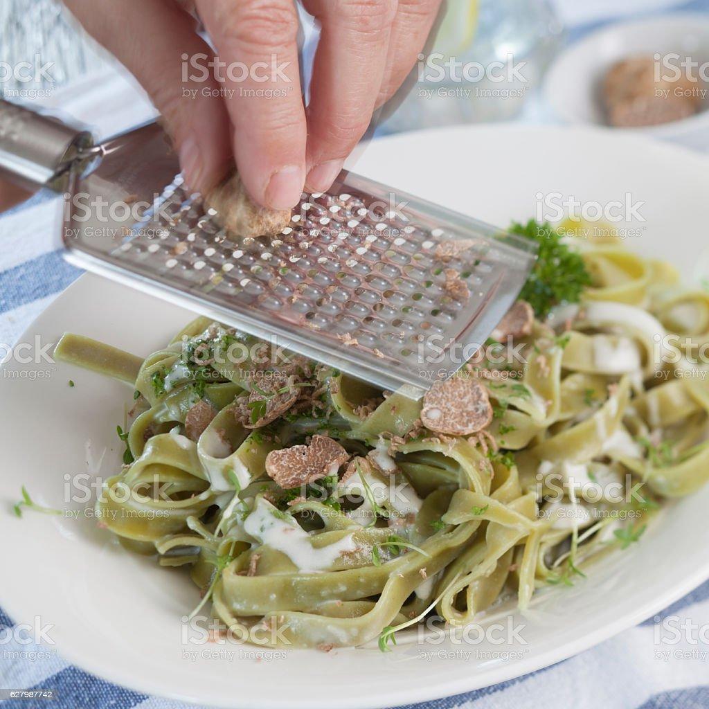 Green Pasta with Truffles stock photo