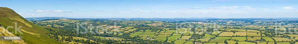 Green pasture patchwork, blue horizon royalty-free stock photo