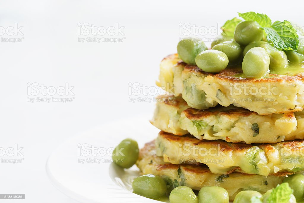 green pea fritters stock photo