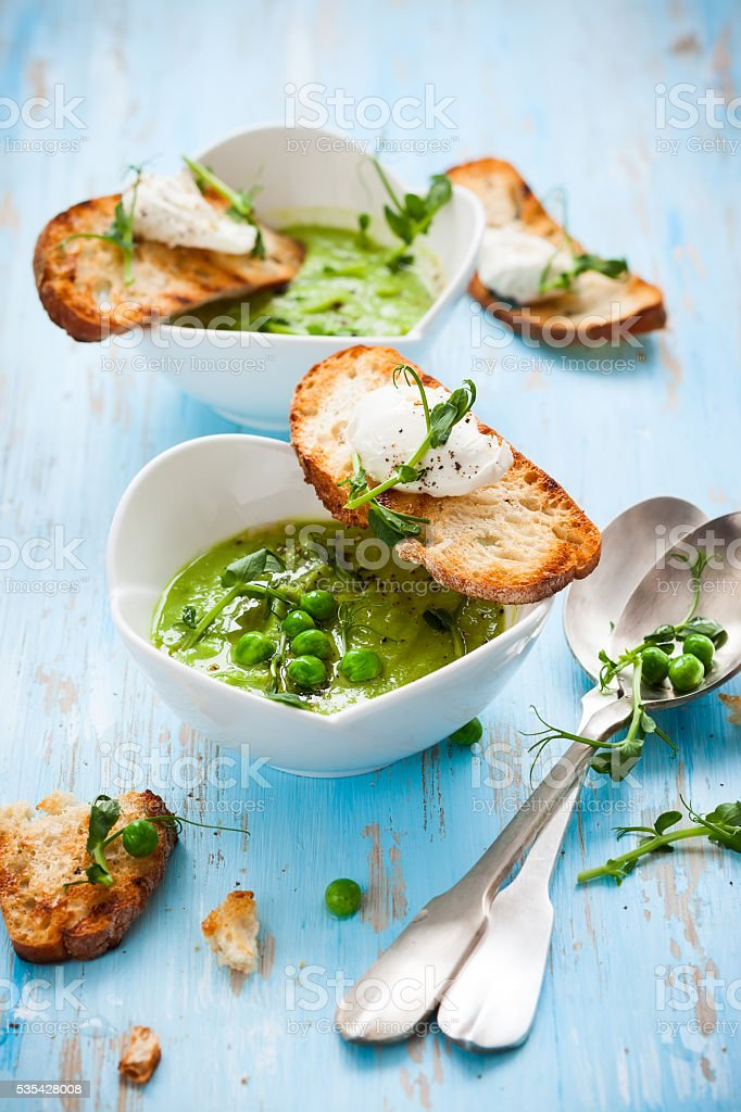 Green pea soup stock photo