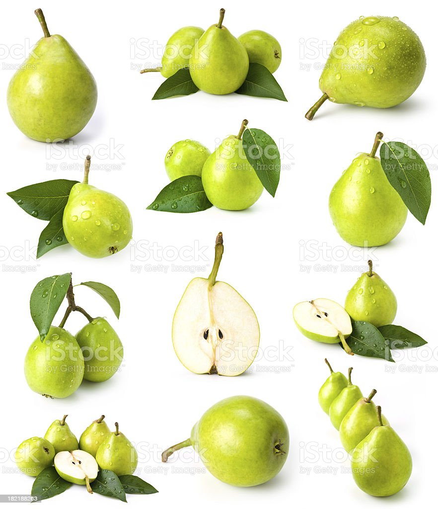 green pears collection stock photo