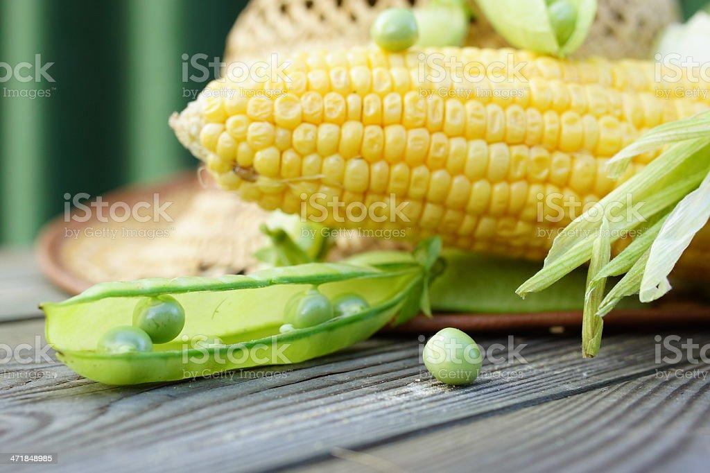 Green Peas and Corn. stock photo