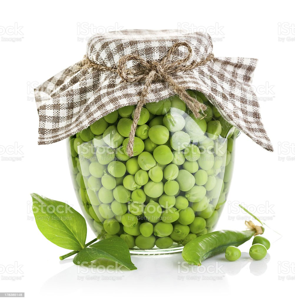 green peas in glass jar royalty-free stock photo