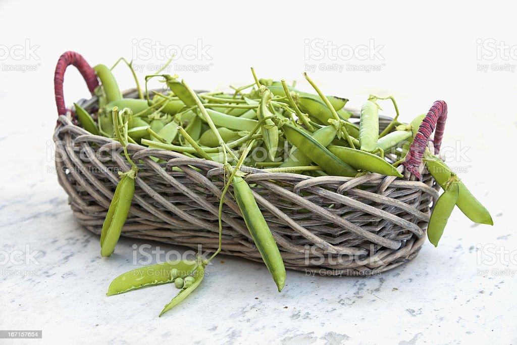 green peas on basket royalty-free stock photo