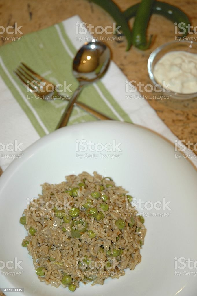 Green Peas Pilaf Rice royalty-free stock photo