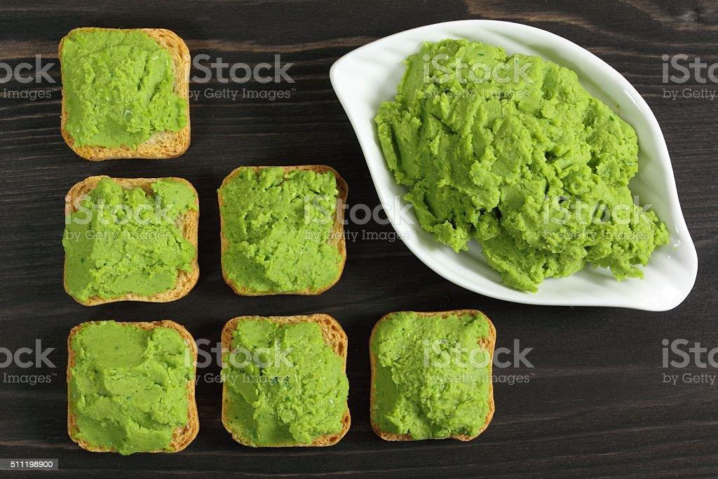 Green peas puree stock photo