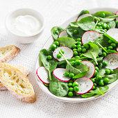 Green peas, radish and baby spinach salad