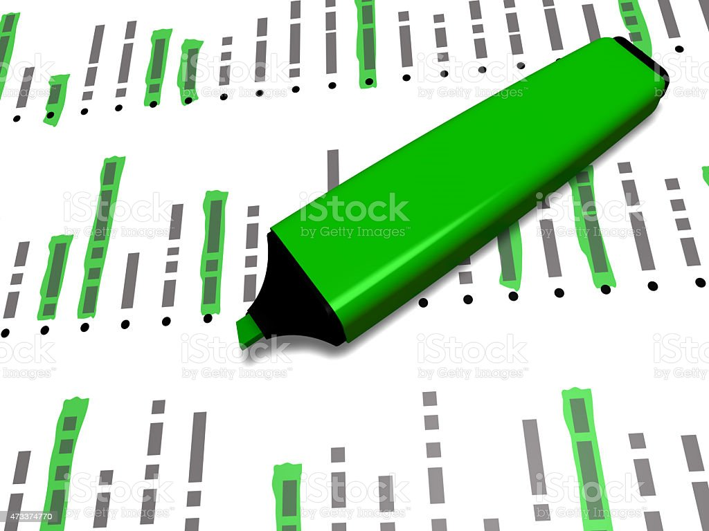 green pen marker on a list with some highlighted elements stock photo