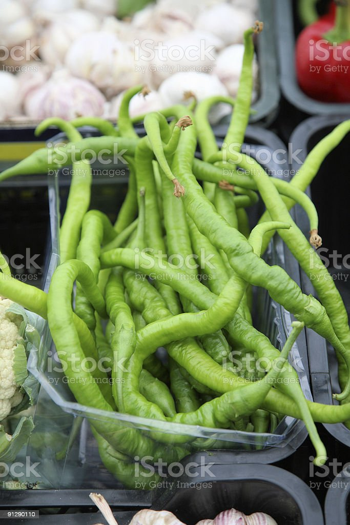 Green pepper at a farmers market royalty-free stock photo