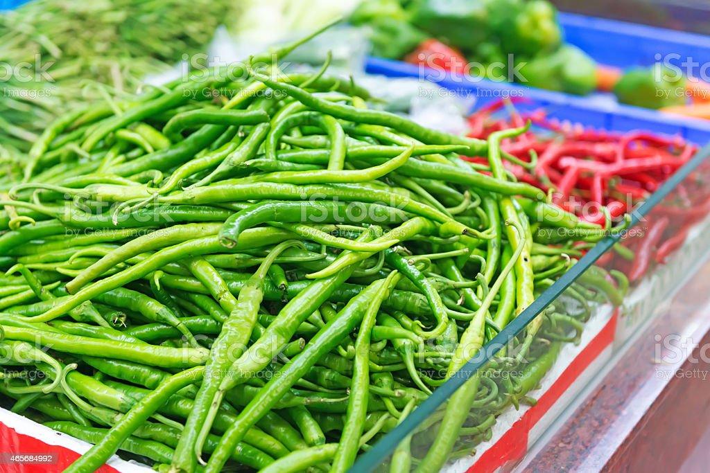 Green pepper, Copsicum annuum L., Cayenne pepper, chili spur pep stock photo
