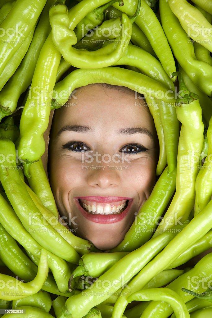 Green Pepper Girl royalty-free stock photo