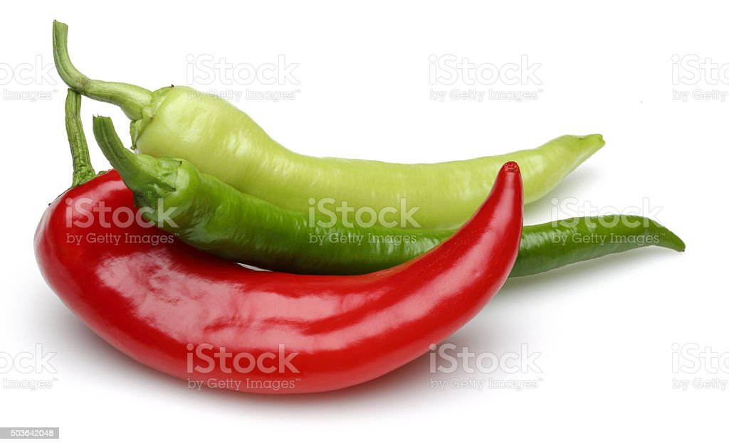 green pepper with red pepper stock photo