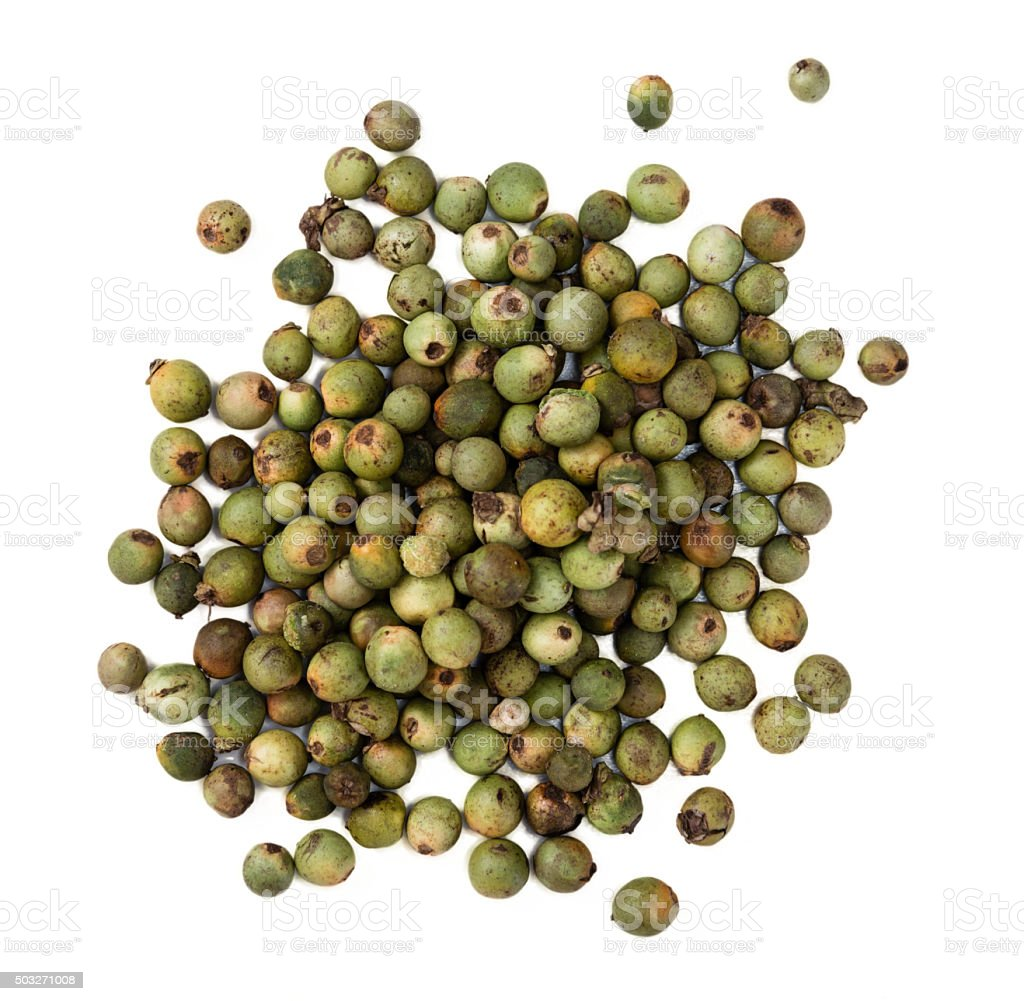 Green Peppercorns (isolated on white) stock photo