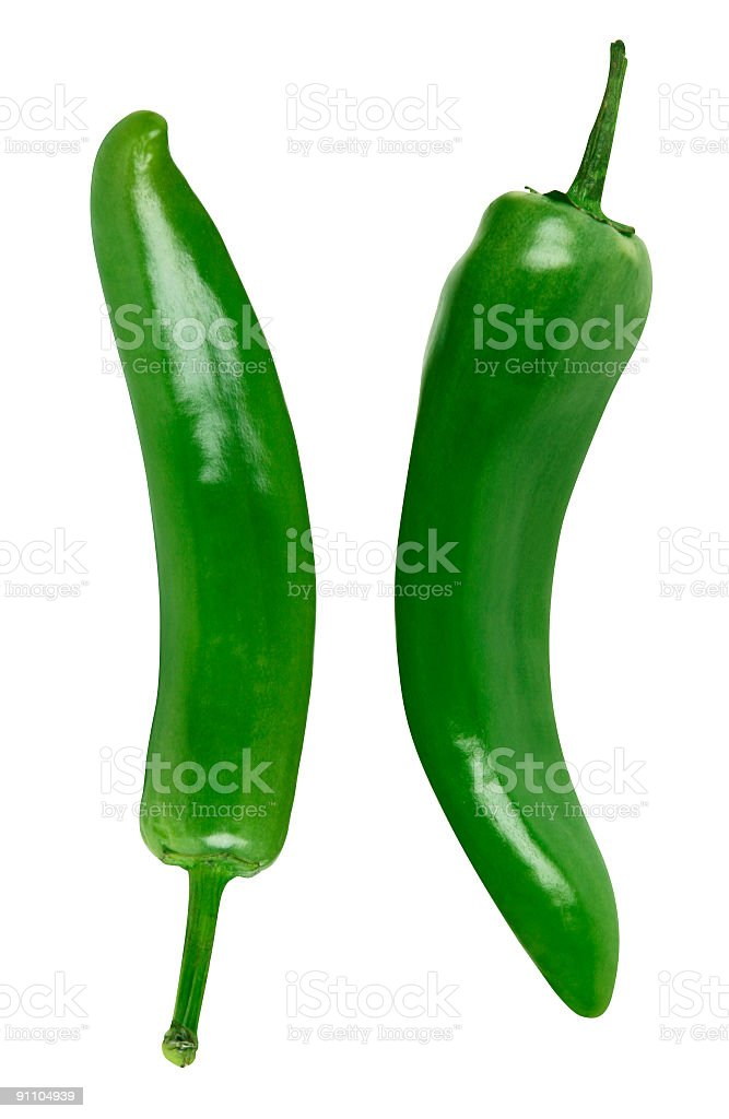 Green peppers against white background stock photo