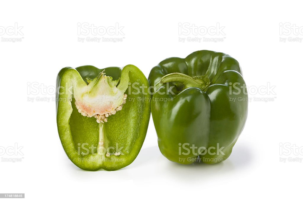 Green Peppers Isolated on white royalty-free stock photo
