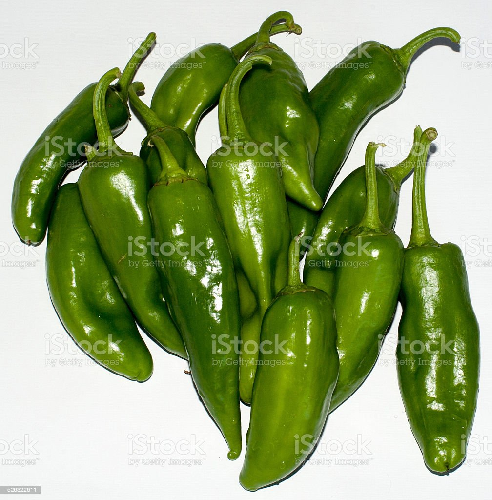 Green Peppers on white stock photo