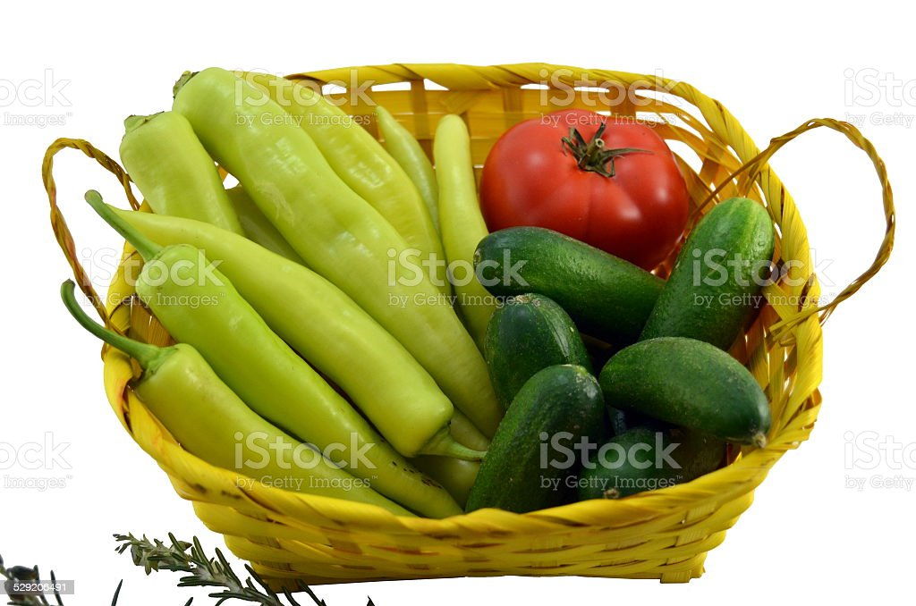 Green peppers, tomato and cucumbers isolated royalty-free stock photo