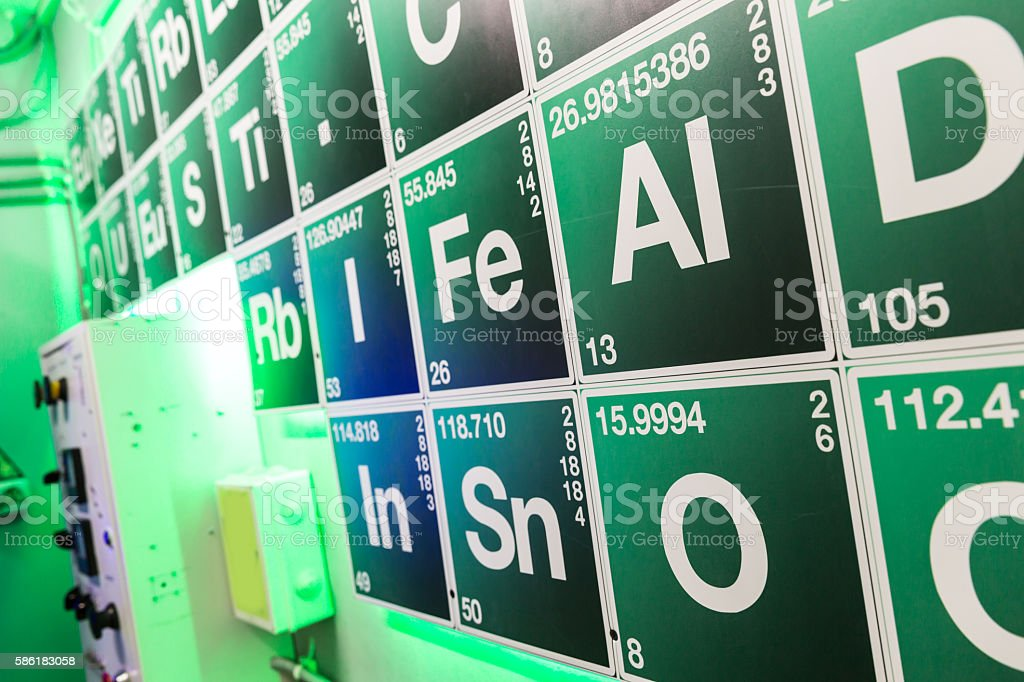 Green periodical table stock photo