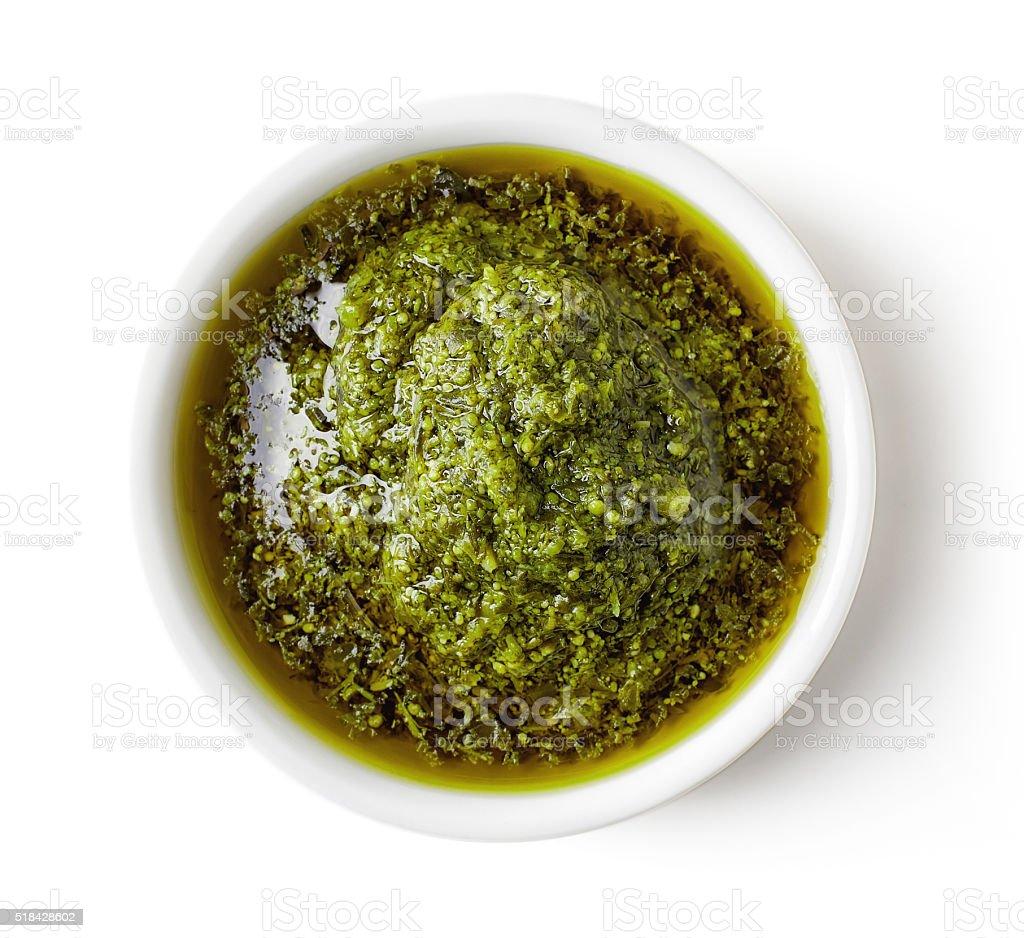 Green pesto sauce stock photo