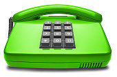 green phone with shadow on isolated white background