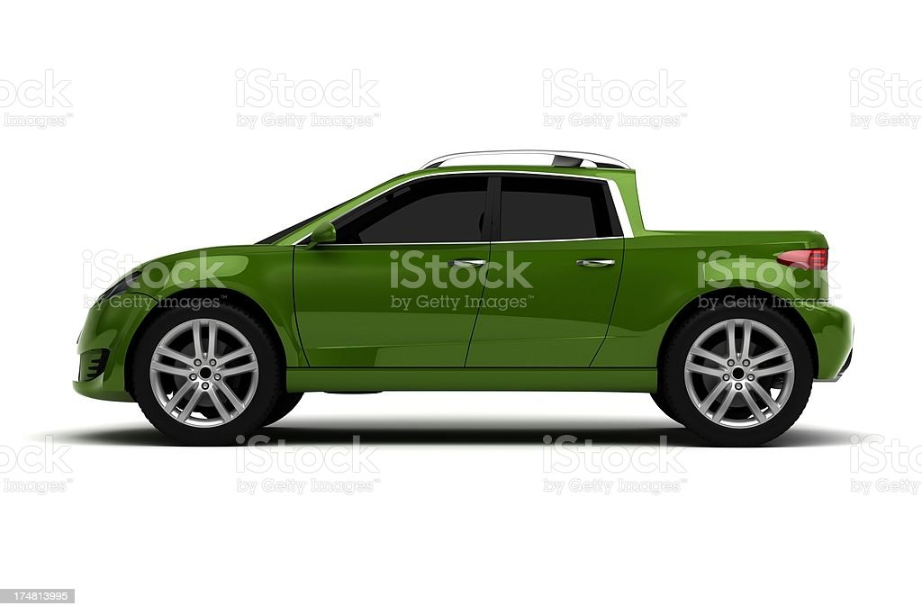Green pick up truck royalty-free stock photo