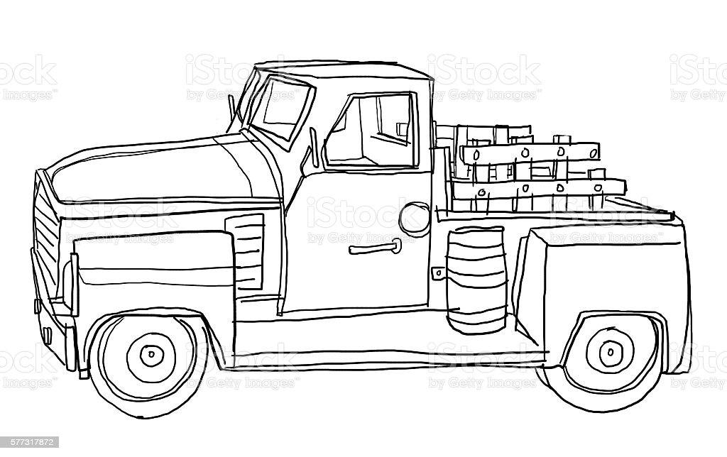 Green Pickup Truck Tin Metal Car Toy Miniature line art stock photo