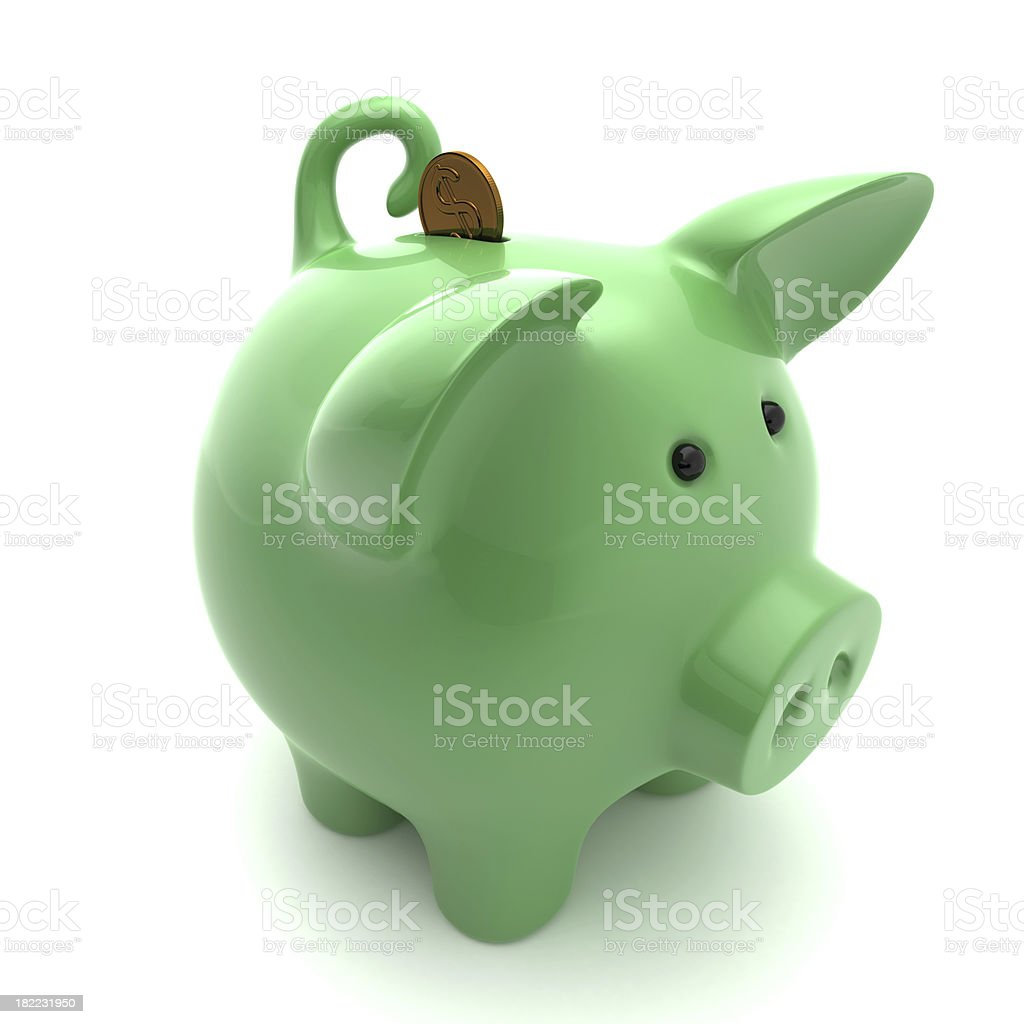 Green piggy on a white background stock photo