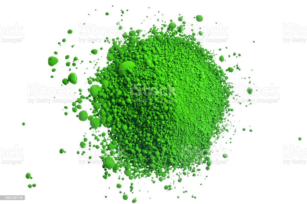 Green pile of pigment powder on white royalty-free stock photo