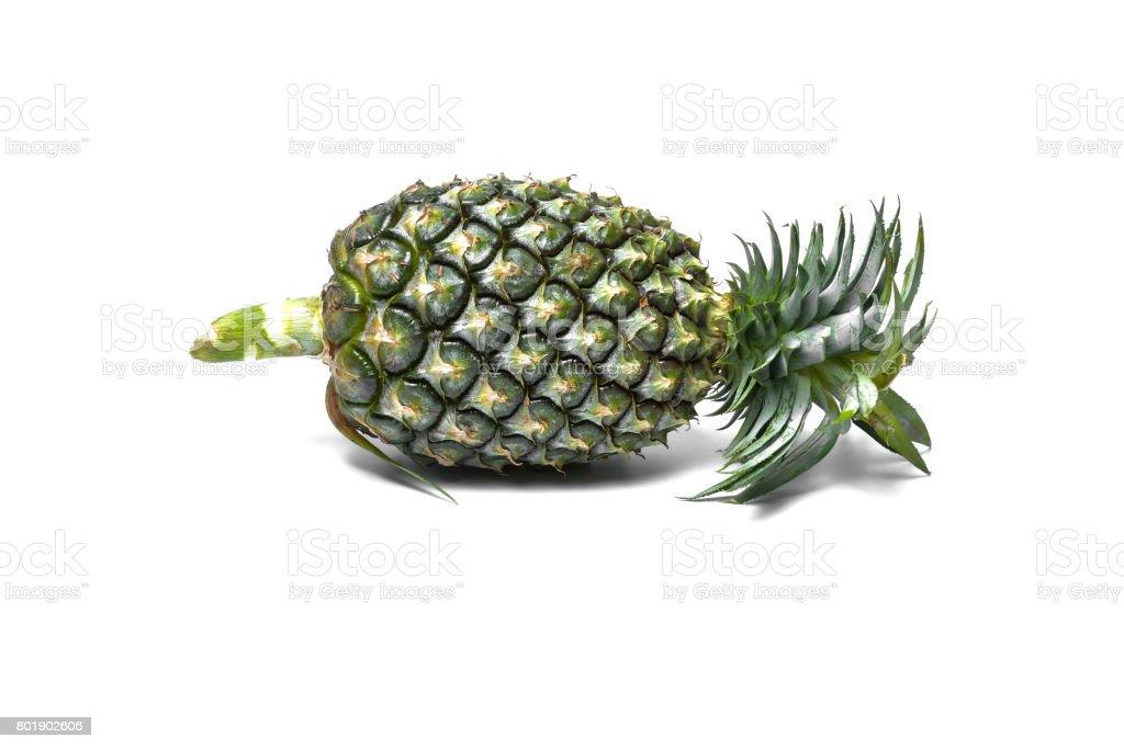 green pineapple  on white background stock photo
