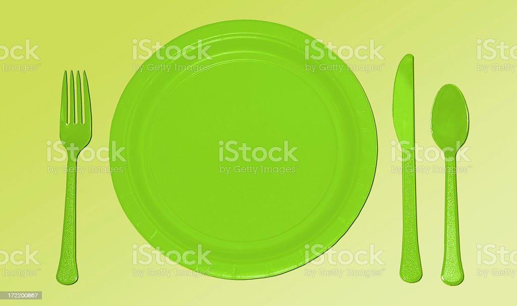 Green Place Setting stock photo