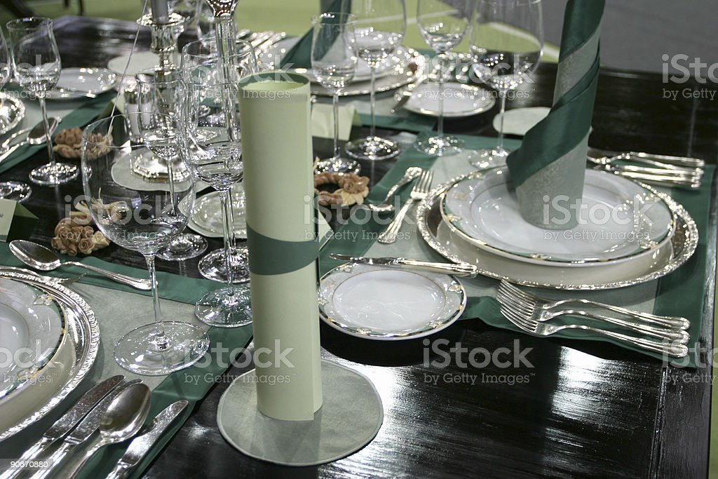 Green place setting royalty-free stock photo