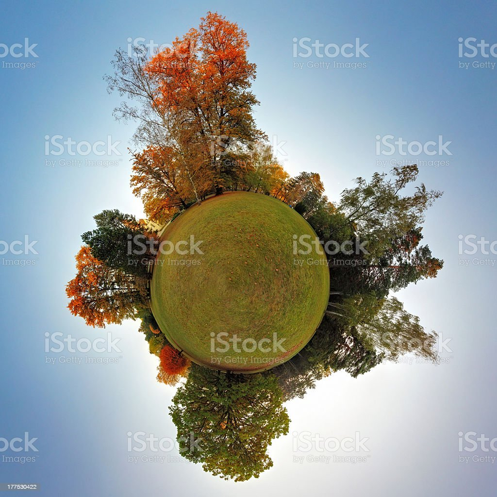 Green planet at autumn - spherical view, Globe and Sphere royalty-free stock photo