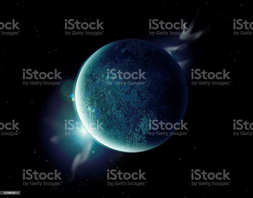 green planet in the universe with aura and stars stock photo