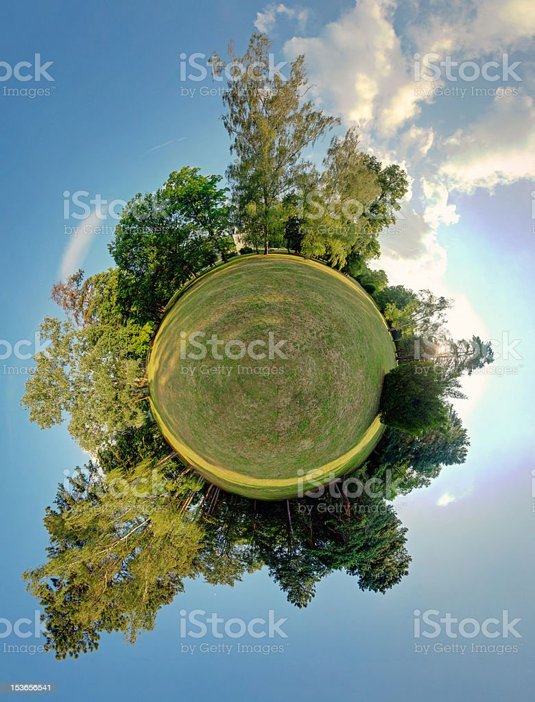 Green planet - spherical view, Globe and Sphere stock photo