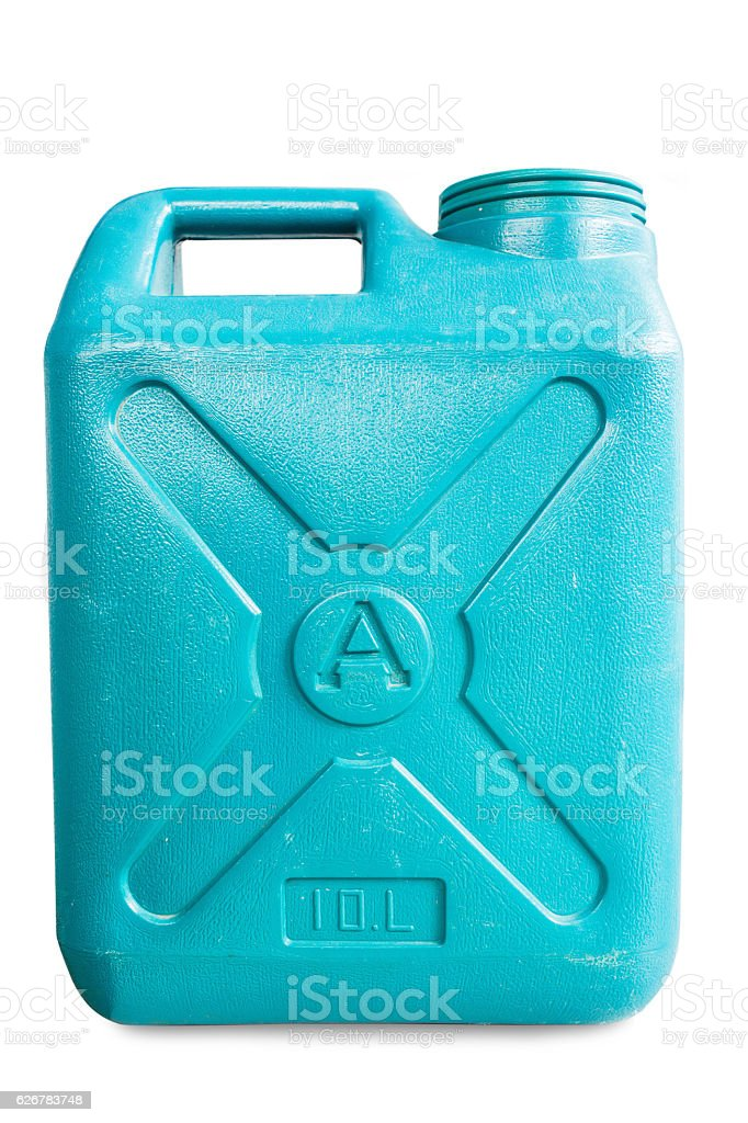 green plastic 10-liter gallon on a white background stock photo
