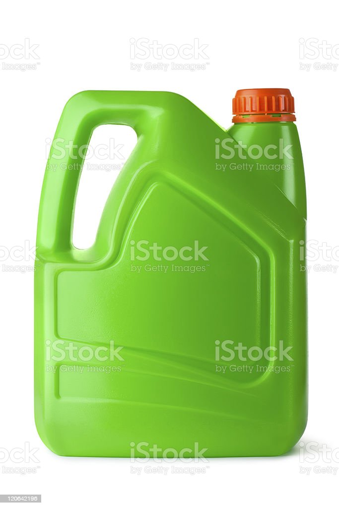 Green plastic canister for household chemicals royalty-free stock photo