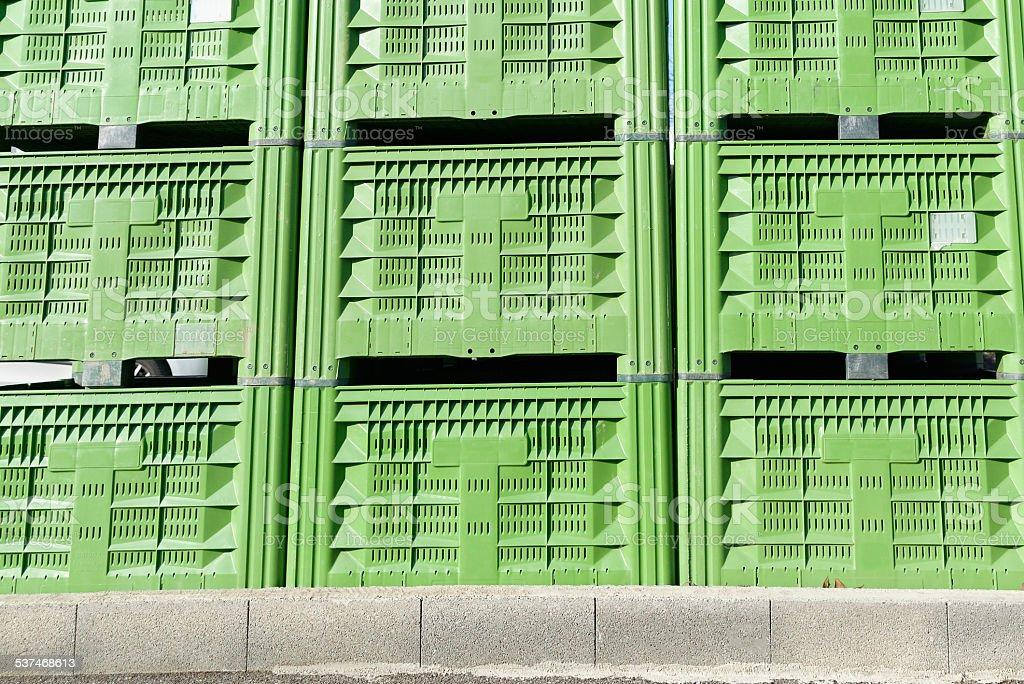 Green Plastic Crates stock photo