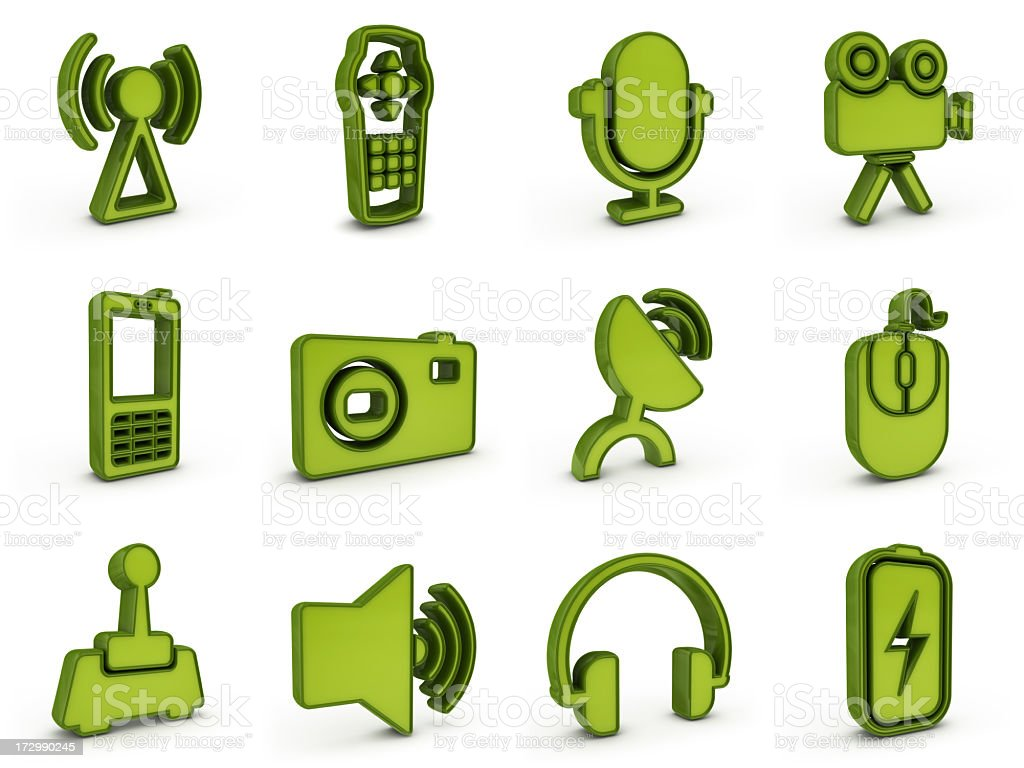 green plastic equipment icons royalty-free stock photo