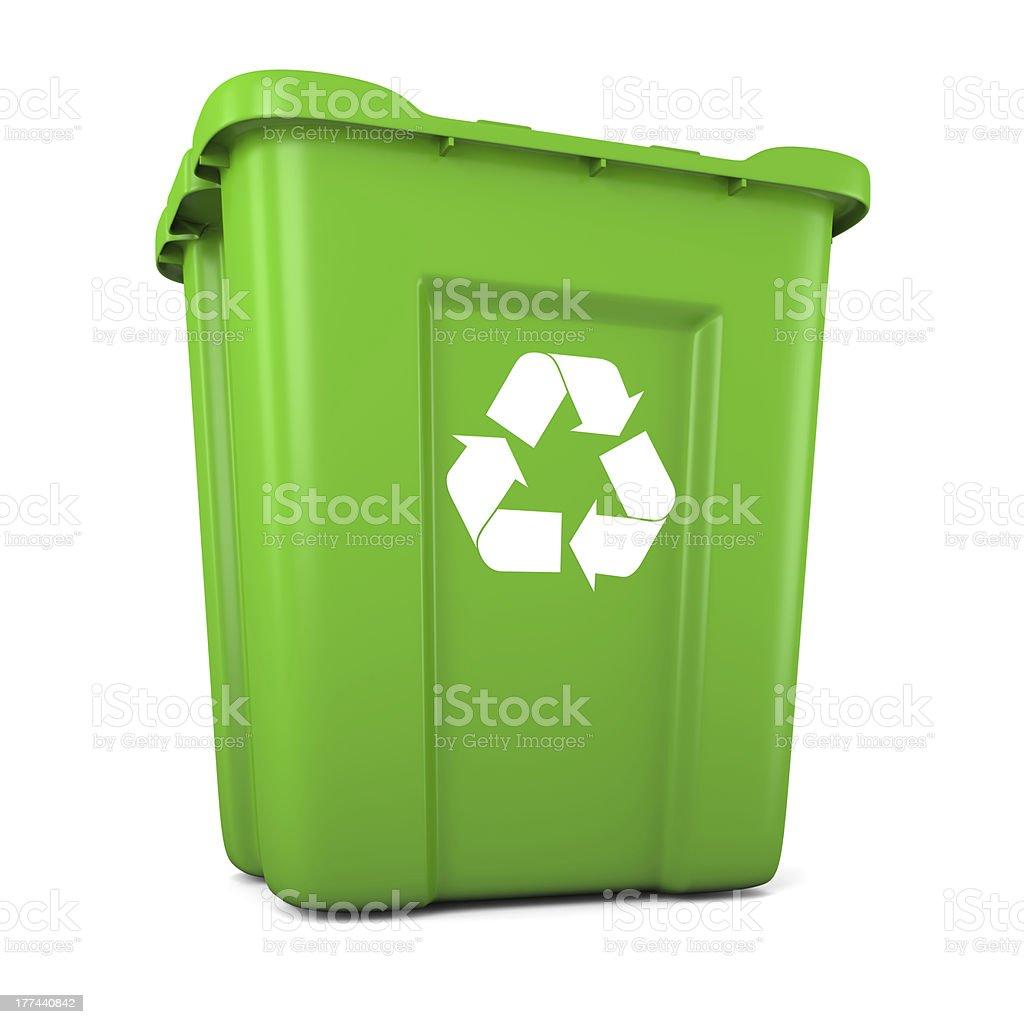 Green plastic recycle bin royalty-free stock photo