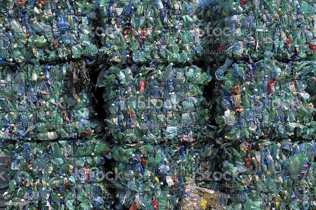 Green plastic recycling stock photo