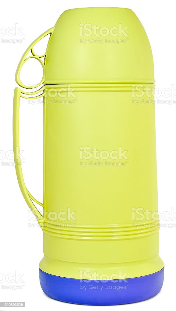 green plastic thermos stock photo