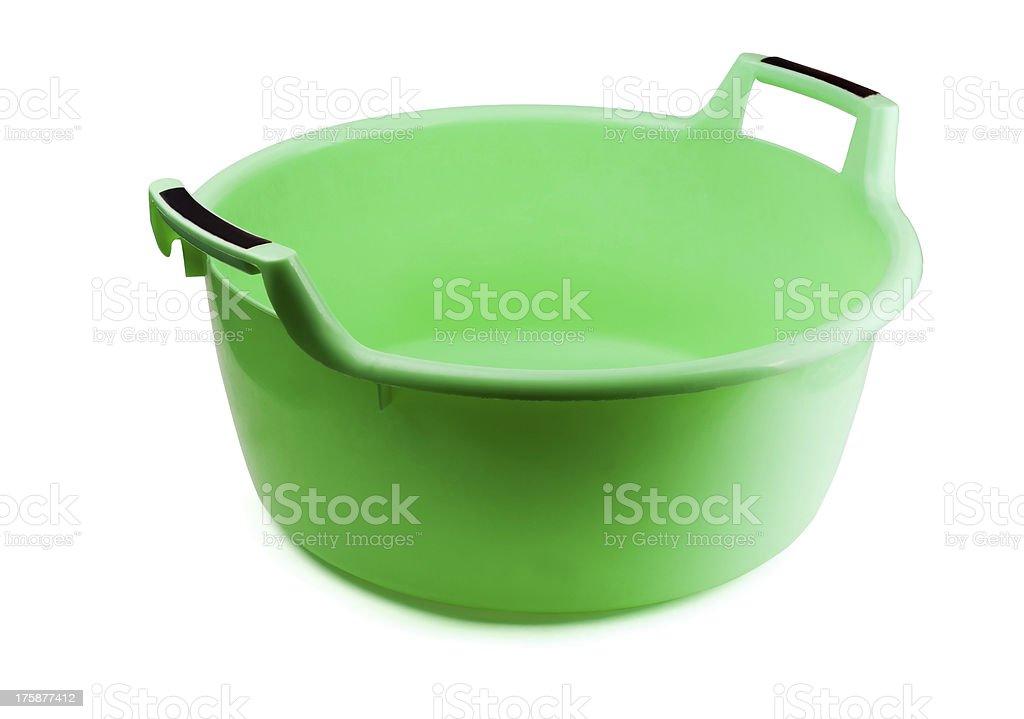 Green plastic washing bowl royalty-free stock photo