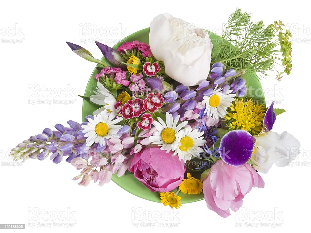 Green plate with June flowers stock photo
