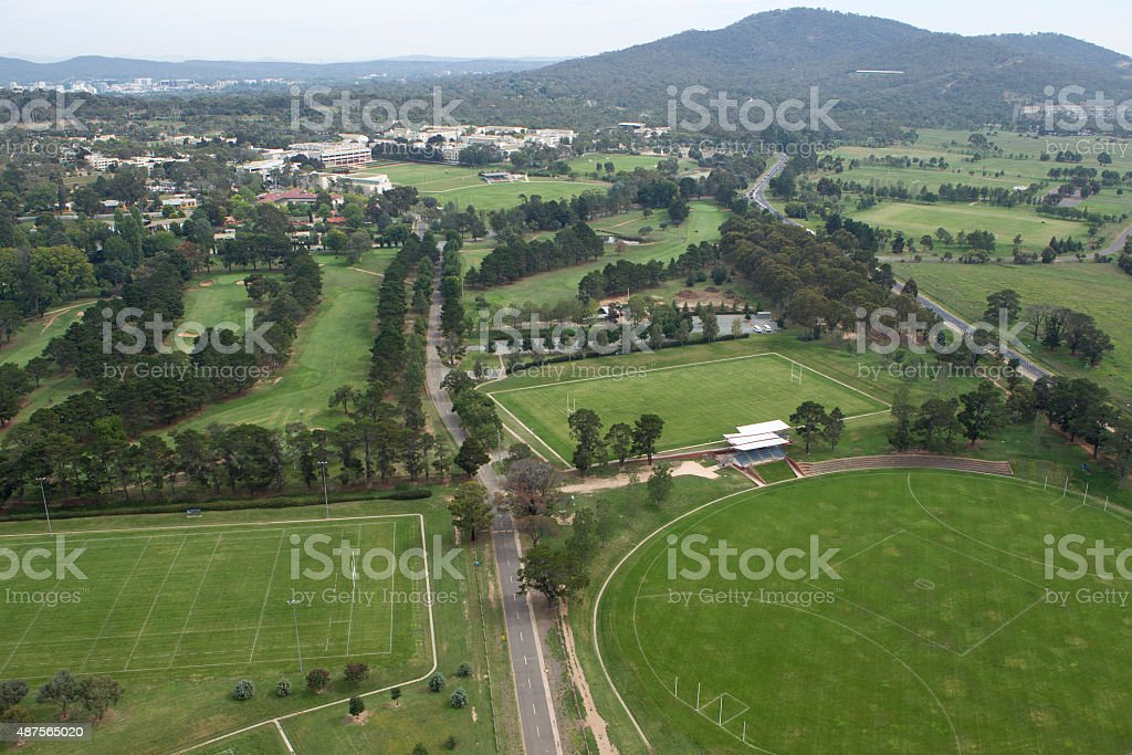 Green playing fields Canberra stock photo