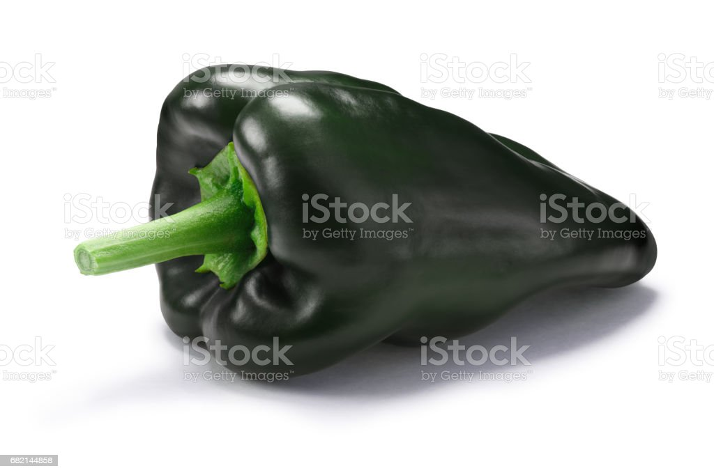 Green Poblano/Ancho pepper, paths stock photo