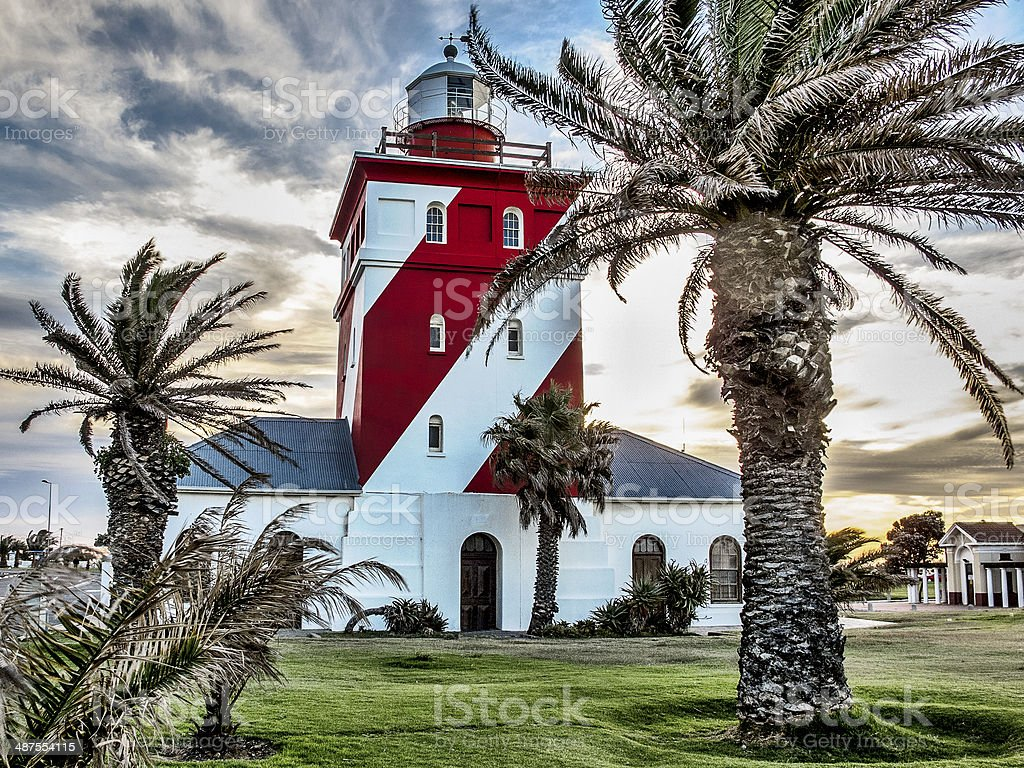 Green point light house in Cape Town stock photo