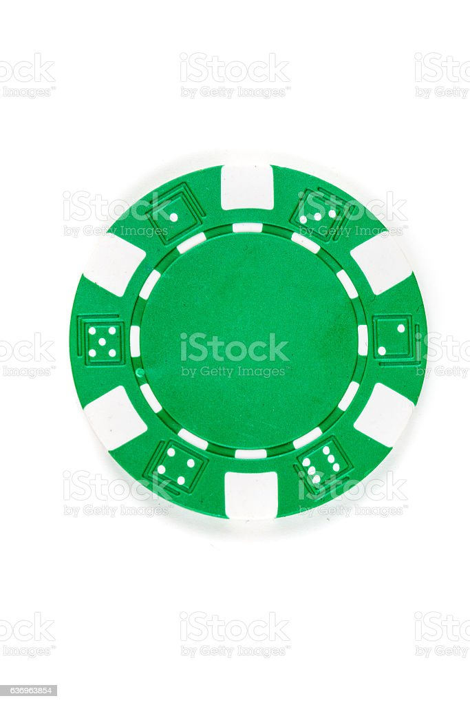 Green poker chip isolated on a white background stock photo